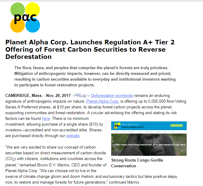 Buy Shares - Planet Alpha Corp. Forest Carbon Legacy